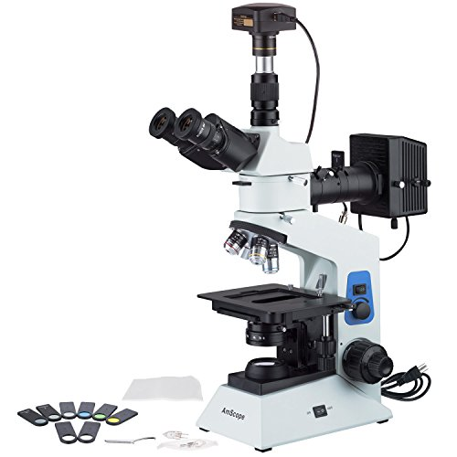 AmScope 40x-800x Polarizing Metallurgical Microscope w Top and Bottom Lights + 18MP USB3.0 Camera