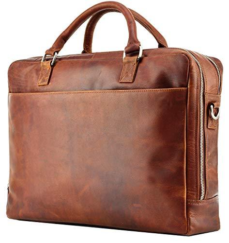 FEYNST Leder Aktentasche Umhängetasche 15,6 Zoll Laptoptasche Notebooktasche Herren (Braun)