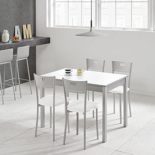 fanmuebles - Mesa de Cocina Fija Laminado Blanco - 100 x 60 cm, Aluminio