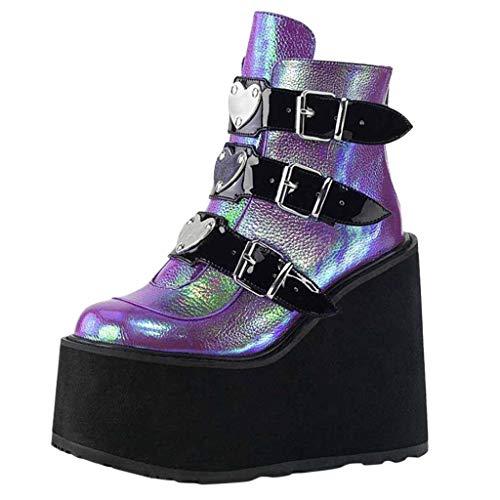 Damen Plattform Stiefel, Mode Multicolor Wedge Boots Damen Zip Up Platform Schuhe Sexy Heel Ankle Boots Abendkleid Arbeitsschuhe Bunte Plattformkeilabsatzschuhe Boots(Lila, 40)