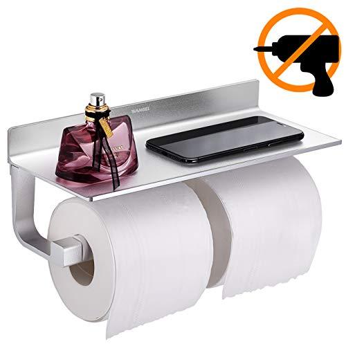 Wangel Doppel Toilettenpapierhalter ohne Bohren, Patentierter Kleber + Selbstklebender Kleber, Aluminium, Matte Finish