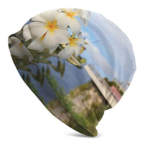 Retro Slouchy Beanie Jersey Plumeria Blanco y Amarillo Que florece en Two Lovers Point en Guam, EE. UU.