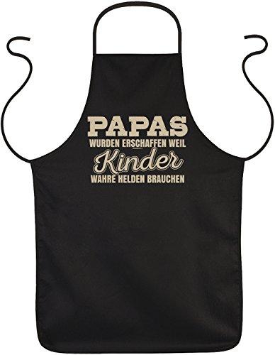 Tini - Shirts Schürze Vater - Sprüche Koch-Schürze Papa : Papas wurden erschaffen Weil Kinder wahre Helden brauchen - Geschenk Grillschürze Geburtstag Väter
