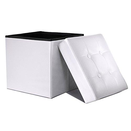 WoneNice Folding Storage Ottoman Cube Foot Rest Stool Seat White