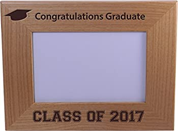 Congratulations Graduate Class of 2017 - Wood Picture Frame Holds 4x6 Inch Photo - Great Gift for Recent College or high School Graduates