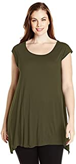 Paper + Tee Women's Plus-Size Scoop-Neck Uneven Swing-Hem Top