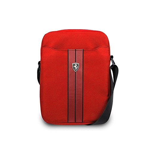 """CG Mobile Ferrari Urban Collection 8"""" Red with Black Piping, Nylon & PU Carbon Leather Tablet Computer Bag with Ferrari Logo"""
