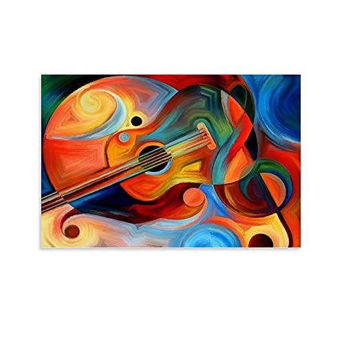 Póster para colgar en lienzo con diseño de guitarra Picasso (60 x 90 cm)
