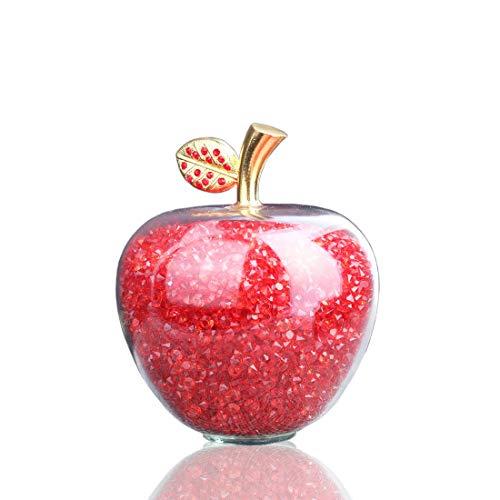 H&D - Figura decorativa de manzana, tallada, con hoja, de aleación, piedra curativa, decoración para el hogar, para día festivo, boda, relleno de diamantes de imitación, color rojo