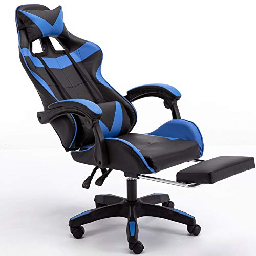 Jackgold Computer Gaming Chair Office PC Ergonomic Home Executive Desk Racing Rolling Swivel Task Adjustable High-Back PU Leather with Lumbar Support Footrest Headrest Armrest, Blue