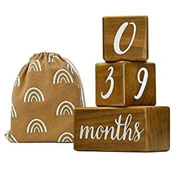 Natural Baby Milestone Blocks for Boy or Girl - Light Brown Pine Wood with Weeks Months Years Grade - Milestones Age Block Set + Bag Newborn Weekly Monthly First Year Picture Props Baby Gift