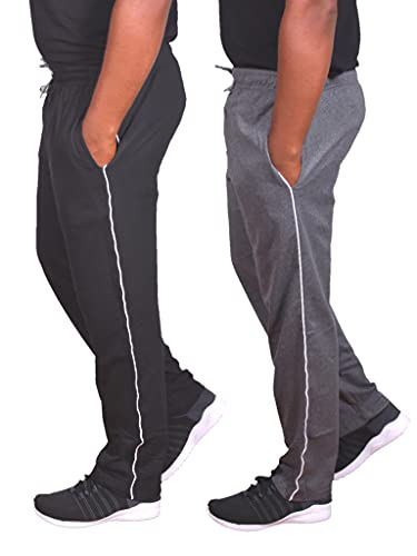 Univerz Men's Regular Fit Track Pants Combo (Free Size/Waist 32 to 36 Inches) – Pack of 2 Black, Grey