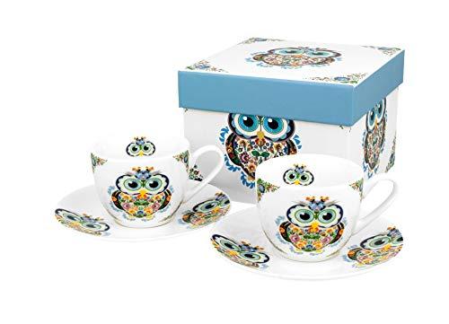 DUO collezione Secret Garden EIN - Set di 2 tazze da caffè con piattini, motivo gufo, in porcellana New Bone China, in confezione regalo, capacità 110 ml
