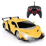 YYQIANG Velocidad Super Vehículo con luces frías Reportaje de deportes Hobby RC Coche 1:16 Scale Control remoto Racing High Toy Car Cumpleaños Juguete Regalos para Niños Amortiguador y Crashworthy Afi