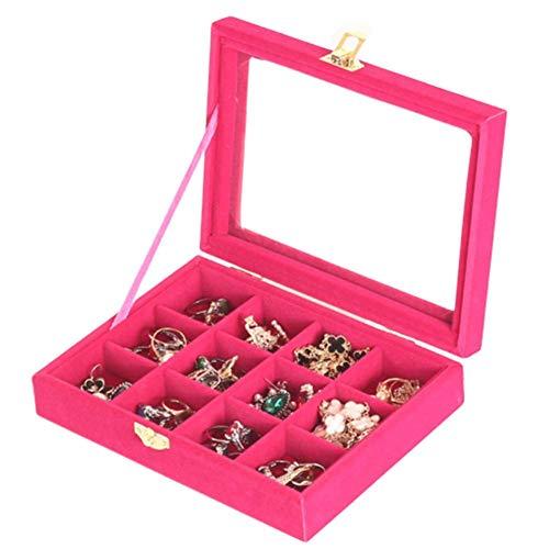 yunyu Soporte para Pendientes Organizador de Joyas Organizador de Pendientes Cajas de Cristal para Joyas Caja de Anillo para Compromiso Soporte para Pendientes Bandeja de Joyas Rosa roja