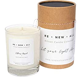 RE+NEW+ALL Artisan Candle | Citrus Basil | All Natural Soy Wax & Cotton...