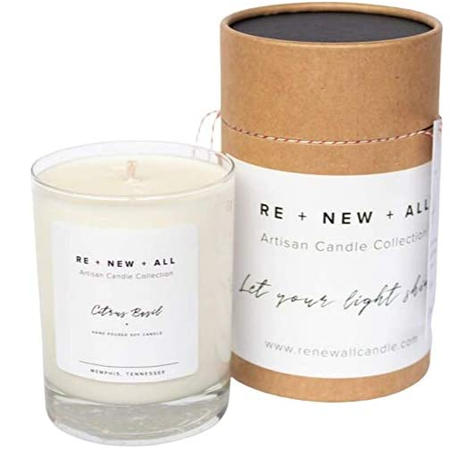 RE+NEW+ALL Artisan Candle | Citrus Basil | All Natural Soy Wax & Cotton Wick | 13.5oz | 60+ Hour Long Burn Time | Strong Scent Throw | Hand Poured By Trafficking Survivors 3