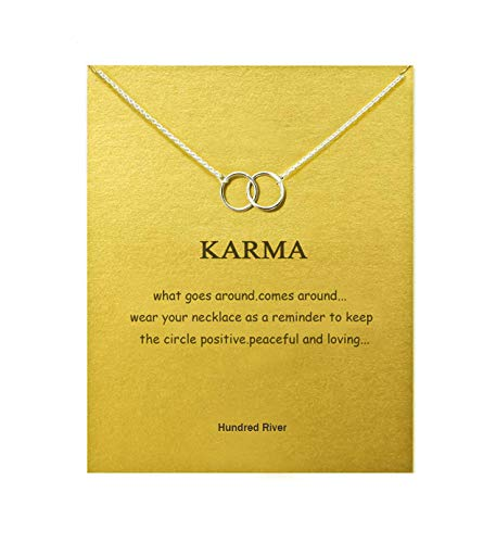 Baydurcan Hundred River Friendship Double Ring Necklace Double Ring Pendant Chain Necklace with Message Card Gift Card (Double Rings 1s)