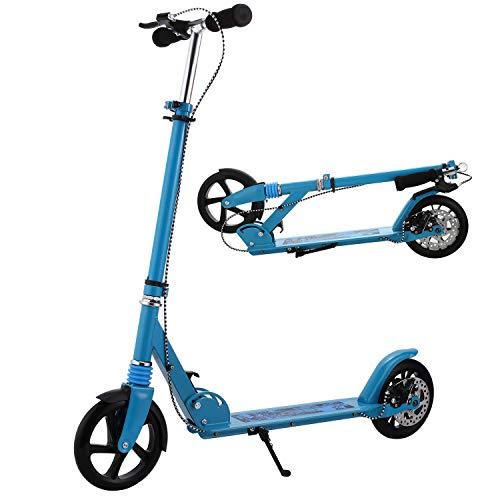 WeSkate Erwachsener Cityroller/Tretroller/Scooter/Roller mit Handbremse und 3 Sekunden Klapp System, große Räder, Verstellbarer Lenker, Scheibenbremsen Kick Roller