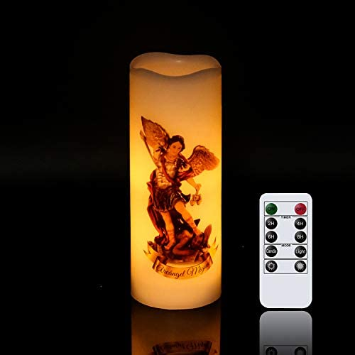 Wondise St Michael Flameless Flickering Devotional Prayer Candle with Remote Timer Battery Operated product image