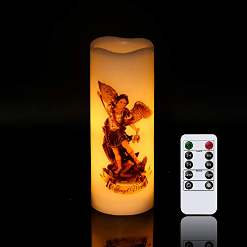 Wondise St Michael Flameless Flickering Devotional Prayer Candle with Remote Timer, Battery Operated Real Wax LED Votive Pillar Candle for Decoration Religious Gift(White, Prayer in Spanish)