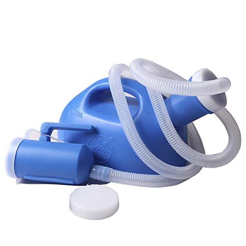 JLCP Orinatoio da Uomo da 2000 Ml con Coperchio, Emergenza di Grande capacità Urinatoio in Plastica con Tubo da 1,1 M,Riutilizzabile,Facile da Pulire,Blu