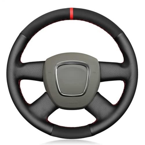 zzwllong Cubierta del Volante del Coche de Gamuza de Cuero Genuino Cosida a Mano para Audi A3 (8P) Sportback A4 (B8) A4 (B7) A6 (C6) Avant de 4 radios
