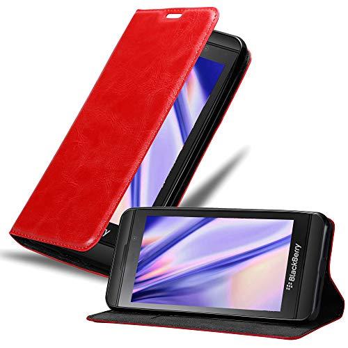 Cadorabo Hülle für BlackBerry Z10 in Apfel ROT - Handyhülle mit Magnetverschluss, Standfunktion & Kartenfach - Hülle Cover Schutzhülle Etui Tasche Book Klapp Style