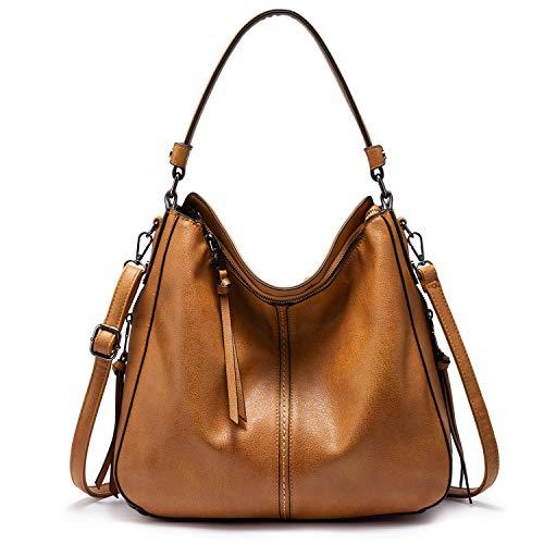 Realer Handtaschen Damen Lederimitat Umhängetasche Designer Taschen Hobo Taschen groß Mit Quasten Hellbraun