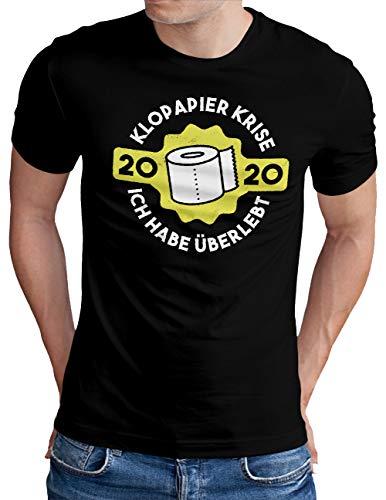 OM3® Klopapier Krise 2020 T-Shirt | Herren | Klorolle Hamsterkauf Quarantäne Panik Hysterie | Schwarz, XL