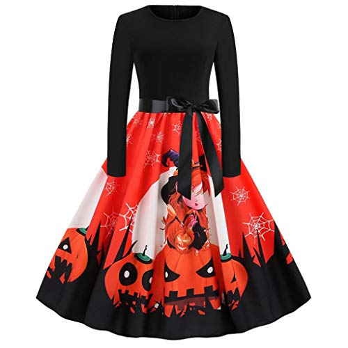 Best Prices! Kiminana Women's Halloween Print Long Sleeve Dress Women Vintage 50s Housewife Evening ...