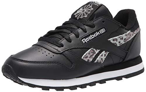 Reebok Zapatillas clásicas de piel para mujer, (Negro, blanco, plateado metálico), 37 EU