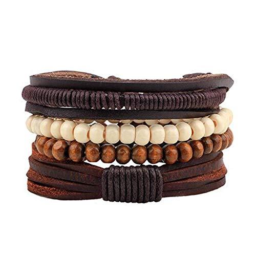 Jewellery Bracelets Bangle For Womens Vintage Wood Beads Bracelet Fashion Hand-Knitted Multi-Layer Feather Stone Bracelet And Fashion Men Bracelet Gift-Qnw4013