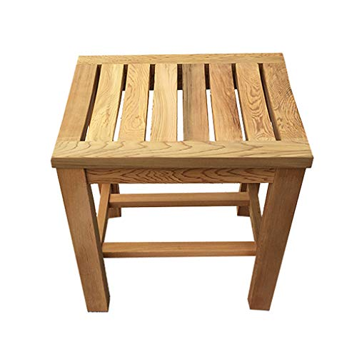 Lowest Prices! Bath Stool Portable Bathroom Stool Wooden Stool Rubber Wood Bench Dressing Stool Squa...