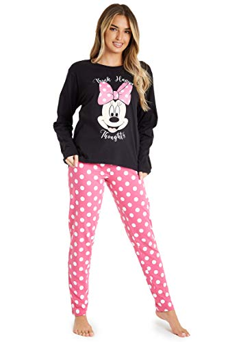Disney Minnie Mouse Pijama Mujer Invierno, Pijamas Algodon Mujer, Conjunto de Pijama Mujer con Camiseta Manga Larga, Pijamas Adultos Divertidos, Regalo Mujeres (Negro, S)