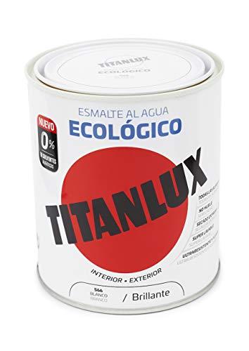 Titanlux - Esmalte Agua Ecologico Brillante, Blanco, 250ML (ref. 00T056614)
