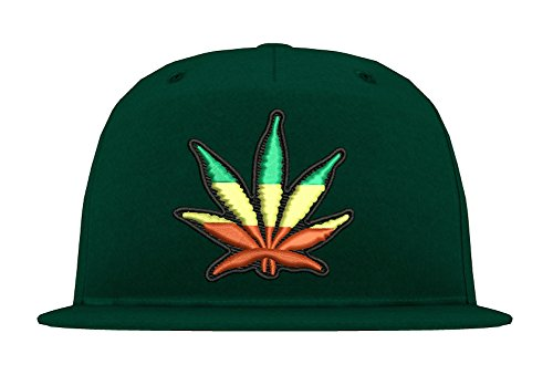 TRVPPY Casquette Chapeau Unisex Snapback Cap Modèle Cannabis Reggae - Bouteille Verte