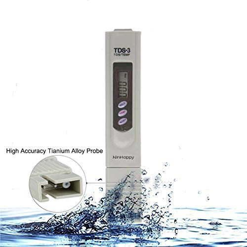 【2020 Latest】TDS Meter,NinHappy Water Quality Tester,0-9999ppm Meter,LCD Display,Accuracy Testing Water Meter for Drinking Water, Aquariums,RO System,Swinging Pool and More