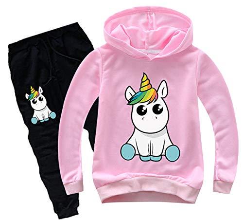 Silver Basic Felpa con Cappuccio e Pantaloni Stampa Unicorno Tute da Ginnastica per Bambini e Ragazze,Rosa Unicorno Siediti-1,160…