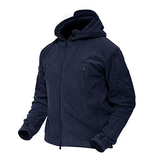 MAGCOMSEN Herren Fleecejacke Warme Jacken Übergangsjacke Herren Winterjacke Outdoor Kampfjacke für Männer Windbreaker mit Taschen Dunkelblau 2XL