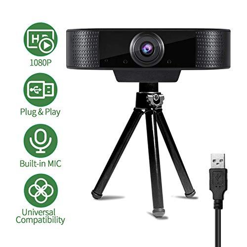 Amyneo Webcam, P-03 Webcam für PC Webcam 1080P, Spiele und Streaming in Echtzeit, mit Mikrofon zur Geräuschunterdrückung