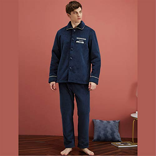 Atecou Soft Fleece 2-teiliges Pyjama-Set,Button-Down-Pyjama-Set für...