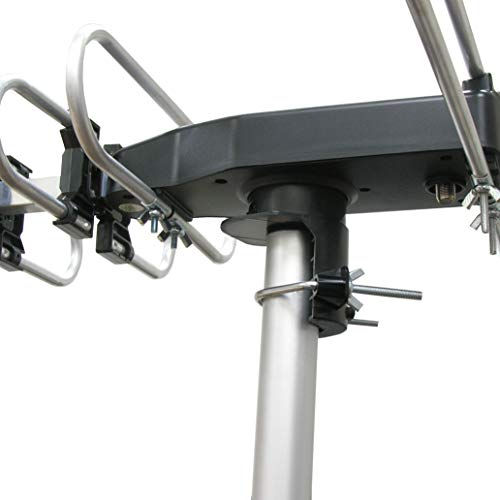 InstallerParts Snap On Amplified Outdoor HDTV Antenna -- 150 Miles Long Range -- Motorized 360 Degree Rotation -- Wireless Remote Control