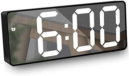 Wecker Digital, Spiegel Wecker LED Digitaler Wecker mit Snooze, Sprachsteuerung, Temperatur Anzeige, 12/24 Stunden für Schlafzimmer, Büro, Helligkeit Regelbar - Schwarz
