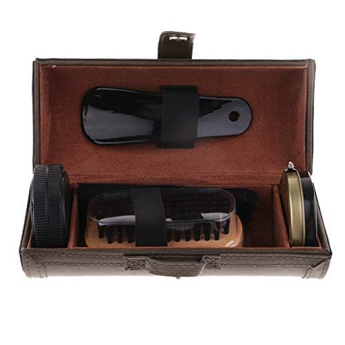 Hellery Kit De Cuidado para Lustrado De Zapatos con Estuche De Viaje - Juego De Cepillos para Lustrar Zapatos - Negro/Verde - Verde, Individual