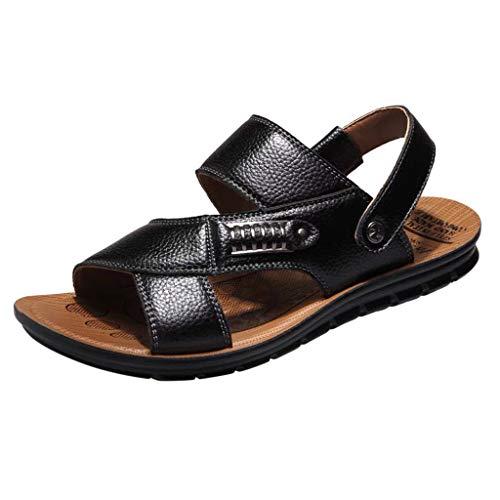 Kaister Herren mode Atmungsaktives Leder Strand Sandalen Schuhe Slides Outdoor Hausschuhe Erwachsene Naturleder Knöchelriemchen Sandalen