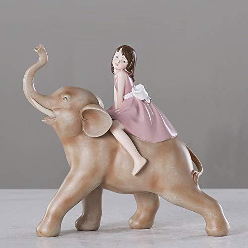 BGHYU Decoración Linda de la Muchacha Escultura Animal Decoración del hogar Crafts-A_22 * 10.5 * 21CM