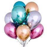 50 piezas Globos de helio cromados multicolores metálicos 6 colores Decoración de pintura metal para vintage Conjuror adolescente Cumpleaños de niño JGA Party Deco (Oro Plata Azul Verde Rosa Púrpura)