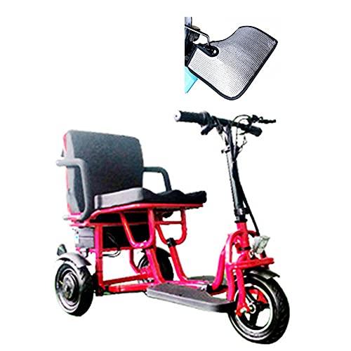 JHKGY Scooter De Movilidad Eléctrico Plegable De 3 Ruedas,Scooters De Viaje Eléctricos Portátiles Ligeros De 3 Ruedas,para Adultos Mayores Discapacitados Discapacitados,Rojo