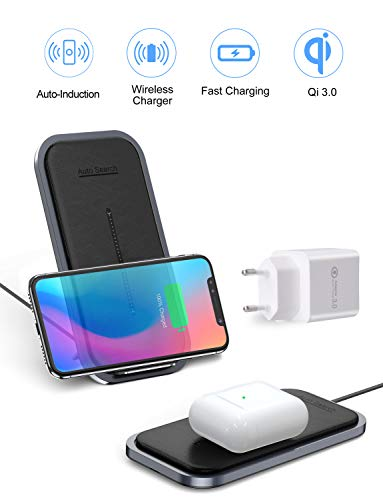 Cenawin 15W Wireless Charger, Automatische Ortung Schnelle Kabellose Ladestation Qi Induktive Ladegerät mit QC 3.0 Adapter für Samsung S10/S9/S8 Note 10/9, iPhone 11/11 Pro Max/XS/XR, AirPods Pro